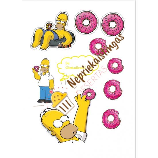 Valgomo popieriaus paveiksliukas figūrėlėms / toperiukams Homeris Simpsonas
